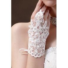 Gants de mariage Tissu Dentelle Decoration Perle Été Mitten Short