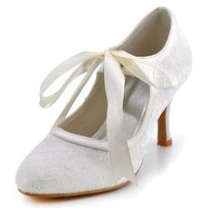 Chaussures de mariage en dentelle blanche en dentelle, plus la taille des talons hauts talons hauts de demoiselle d'honneurtalons hauts