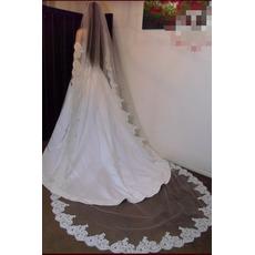 Voile de mariée Tissu Dentelle Long With Comb Ivory Printemps