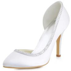 Satin soie bout pointu strass chaussures de mariage côté chaussures de mariée creuses stiletto