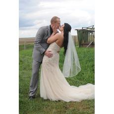 Voile de mariée Short With Comb White Long Printemps