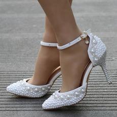 Sandales à talons hauts sandales strass perlées chaussures de mariage blanches