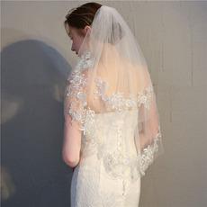 Mariée courte voile avec peigne voile délicat dentelle dentelle voile accessoires de mariage