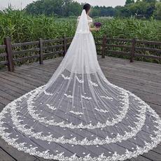 Voile de dentelle blanche voile de mariée église voile voile de fleur en trois dimensions