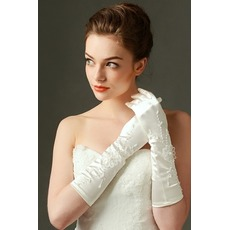 Gants de mariage Appropriate Full finger Satin Broderie Froid