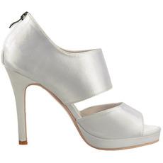 Chaussures de soirée à talons hauts en satin sexy à bout ouvert