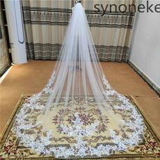 Voile de mariage simple couche dentelle voile de mariée applique voile ivoire blanc 3 mètres