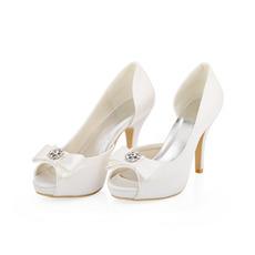 Mariage blanc talons hauts chaussures de mariage en satin de soie