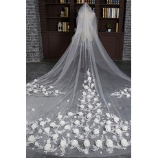 Voile de mariée Size can be customized With Comb Froid Chic Appliques