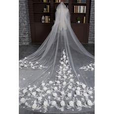 Mariée rétro voile mariage long voile voile fleur