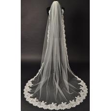 Voile de mariée Glamour Tissu Dentelle With Comb Chapelle Long