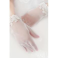Gants de mariage Moderne Été Dentelle White Full finger Decoration
