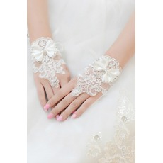 Gants de mariage Short Pailleté Decoration Tissu Dentelle Mitten