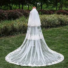 Nouveau voile à trois couches de dentelle en gros accessoires de mariage voile de queue de mariée