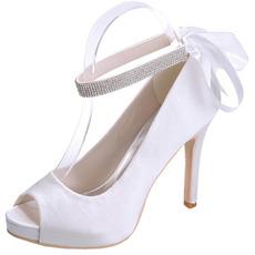 Chaussures de mariage en satin Stiletto Chaussures de bouche de poisson Banquet Chaussures de mode de fête annuelle