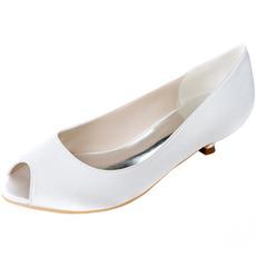 Chaussures de bouche de poisson de mariage chaussures à talons bas chaussures de mariage pour femmes enceintes