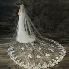Voile de mariage de queue accessoires de mariage de mariée voile voile d'applique de dentelle exquise
