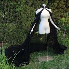 Manteau de mariée en mousseline de soie noire
