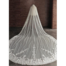 4M haute qualité voile de mariage voile 2 couche cathédrale voile de mariée bord de dentelle
