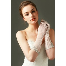 Gants de mariage Tulle Shade Désirable Perle Automne Full finger