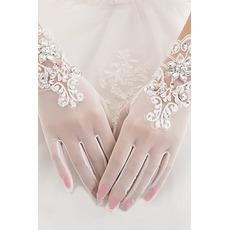 Gants de mariage White Short Été Perle Full finger Appropriate