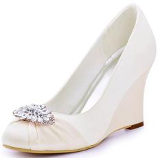 10cm talons hauts talons épais chaussures pour femmes, plus la taille des chaussures de mariage à talons de bateau
