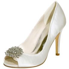 Sandales Stiletto étanches strass satin mariée chaussures de mode de fête de mariage