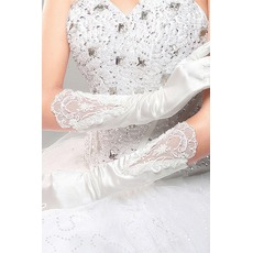 Gants de mariage Red Long Soie Cérémonial Full finger Froid
