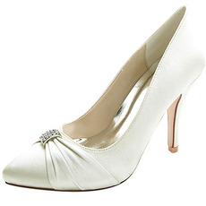 Chaussures de mariage pointues féminines mode chaussures à talons hauts en satin strass