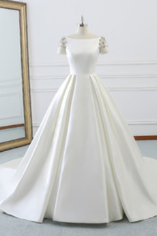 Robe de mariée Luxueux Manche de T-shirt Satin Traîne Royal A-ligne