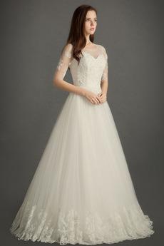 Robe de mariée Luxueux Automne Perler Plage Col ras du Cou Longueur ras du Sol