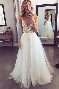 Robe de mariée Zip Sans Manches Manquant Appliques Longueur ras du Sol