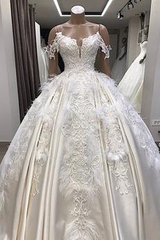 Robe de mariée Traîne Moyenne Lacet Mancheron Satin Plage Formelle