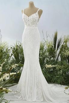 Robe de mariée Sirène Naturel taille Cathédrale Sans Manches Dos nu