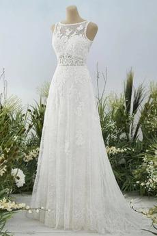 Robe de mariée Dos nu Col Bateau Couvert de Dentelle aligne Pittoresque