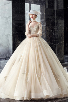 Robe de mariée Col en V Perle Naturel taille Formelle Col en V Foncé