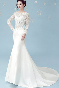 Robe de mariée Sirène Formelle Épaule Dégagée Tissu Dentelle Longue