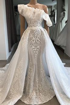 Robe de mariée Appliques Tissu Dentelle Chic Sans Manches Épaule Asymétrique