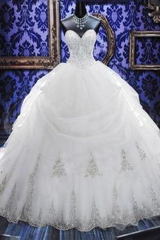 Robe de mariée Princesse Basque Satin Lacet Cérémonial Perlé