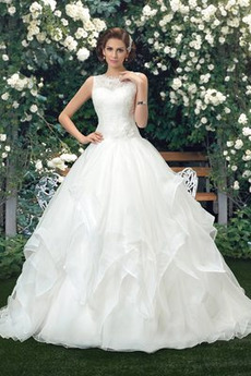 Robe de mariée Glissière Pompeux Organza A-ligne Cérémonial Salle