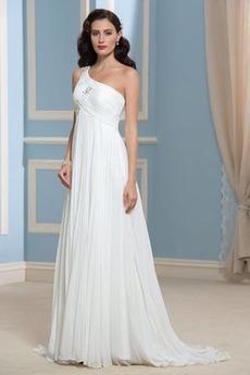 Robe de mariée Sans Manches Épaule Asymétrique taille haute Milieu