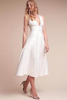 Robe de mariée Col en V Mince Soie Zip Longueur Mollet Plage