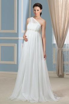 Robe de mariée semi-couverte Maternité Epurée Plage Épaule Asymétrique
