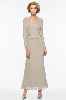 Robe Mère de Mariée fin Longueur Cheville Mousseline de soie Fourreau