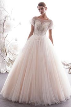 Robe de mariée Tulle Manche Courte Longueur ras du Sol Appliquer Salle