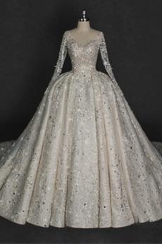 Robe de mariée Dos nu Tulle Automne Appliques Vintage Col en V