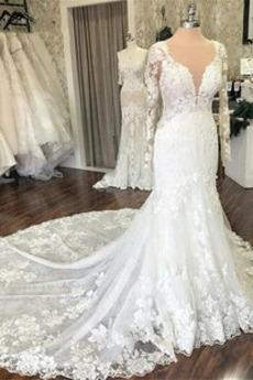 Robe de mariée Dos nu Triangle Inversé Printemps Appliques Formelle