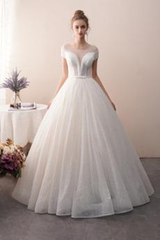 Robe de mariée a ligne Sans Manches Printemps Lacet Tulle Chapelle