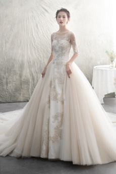 Robe de mariée Formelle 3/4 Manche Manquant Chapelle Perle Longue