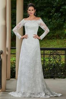 Robe de mariée Manche Longue Tissu Dentelle Tribunal train Epurée